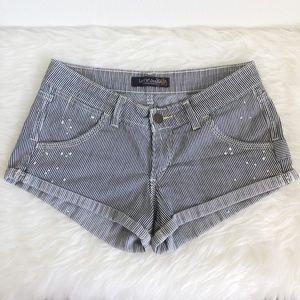 LEVI'S Blue and White Stripe Cuffed Jean Shorts